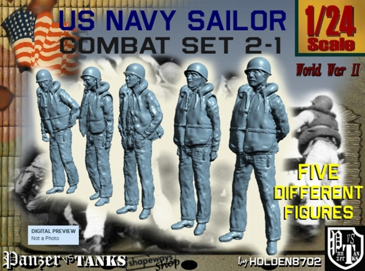 1-24 US Navy Sailors Combat SET 2-1 3d printed