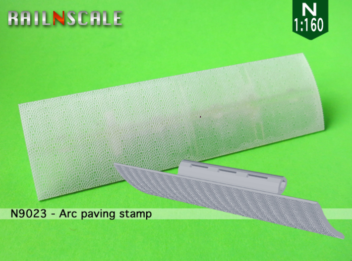 Arc paving stamp (N 1:160) 3d printed