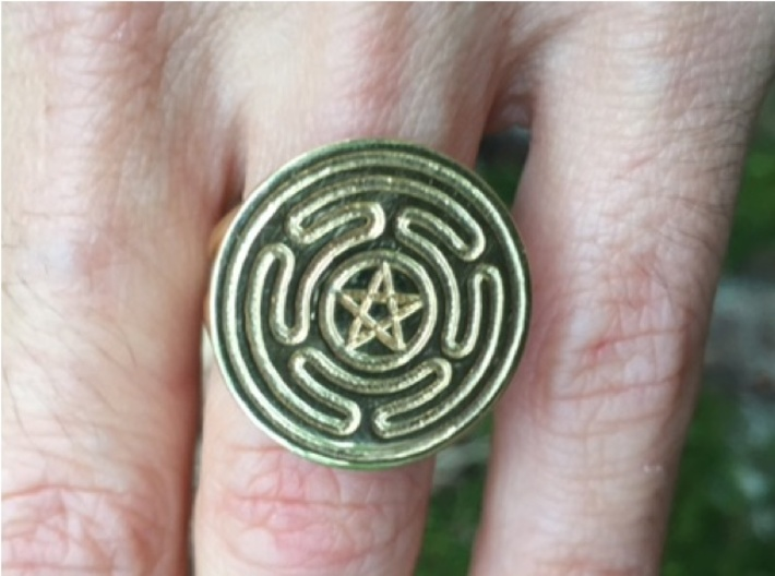 Wheel of Hecate ring (choose size) 3d printed A customer asked for a variation on the labyrinth design, placing a pentacle in the center. I was happy to accommodate her. This is her photo of her customized ring.