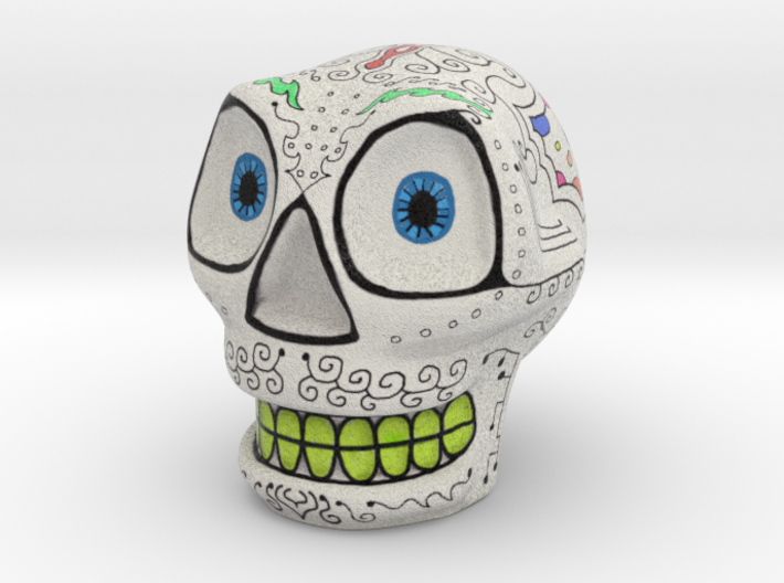 Decorated smiling skull 3d printed