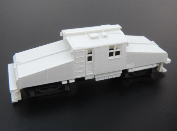CNSM Battery Loco 455 - 456 3d printed Body primed with Tamiya fine primer and under frame fitted.