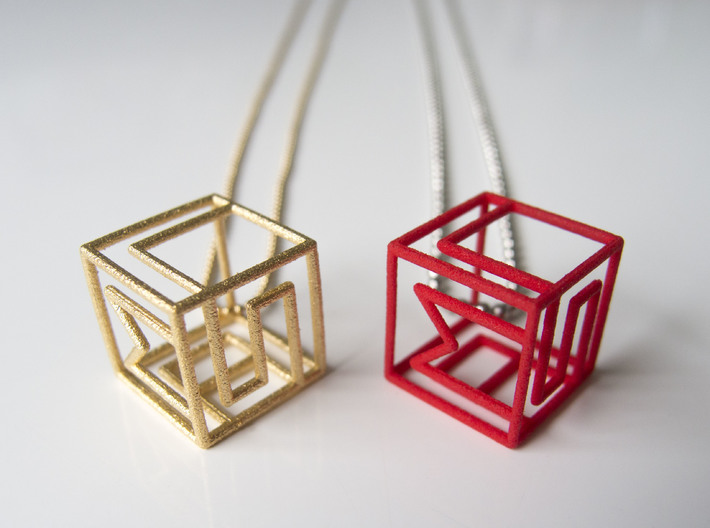 Personalized Initial Cube pendant 3d printed Polished gold steel and red strong and flexible polished