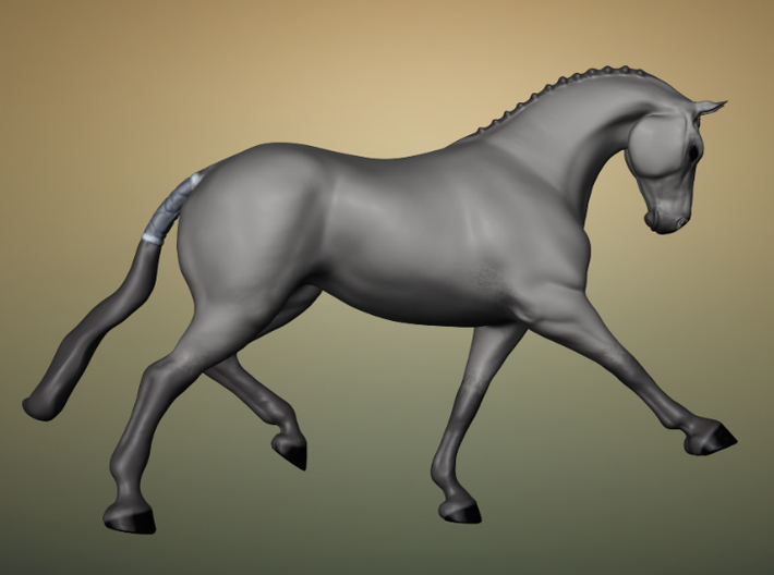 Horse Trotting 3d printed A 3d render of the model, colored.
