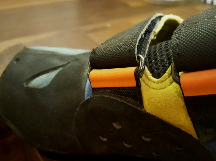 CLIPARE x 8 (for 2 pair of shoes) 3d printed Orange VelcProtec attached