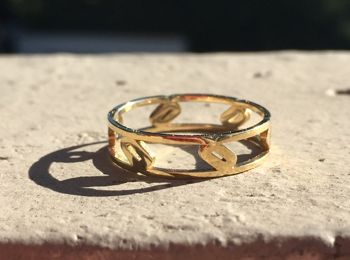 Unique Link Ring  3d printed Polished Brass