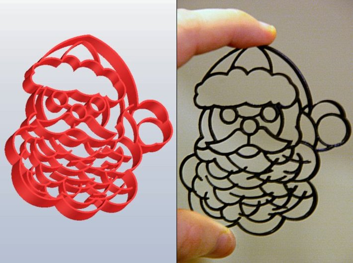 Santa Claus Cookie Cutter (3 layers, 10 mm) 3d printed 3 Layer Santa Claus Cookie Cutter