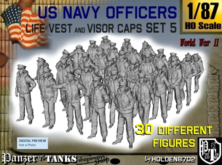 1-87 USN Officers KAPOK Set5 3d printed