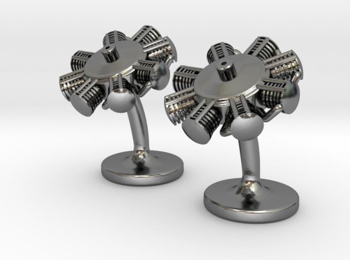 Radial Engine Cufflinks 3d printed Radial engine cufflinks polished silver