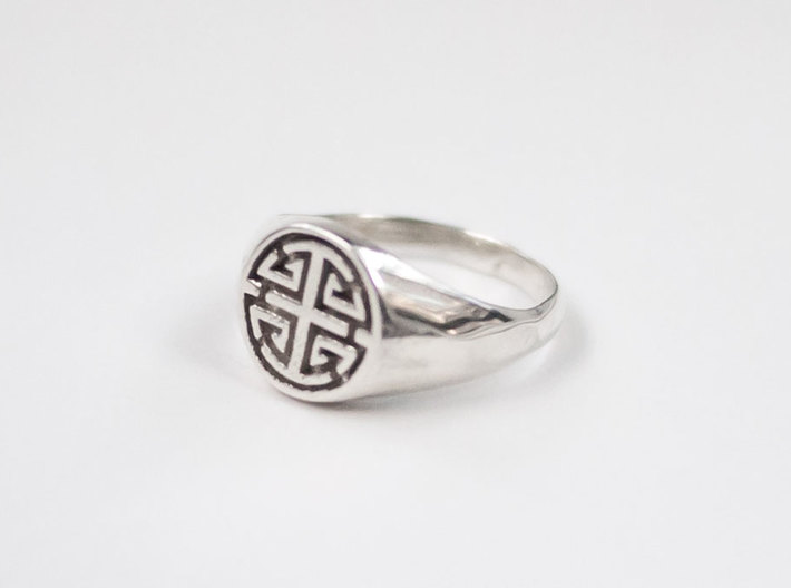 Prosperity - Lady Signet Ring 3d printed Prosperity Lady Signet Ring in Polished Silver