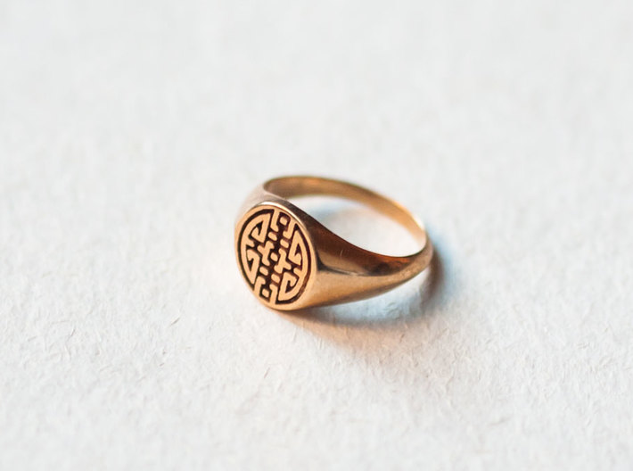 Happiness - Lady Signet Ring 3d printed Happiness Signet Ring in Polished Bronze
