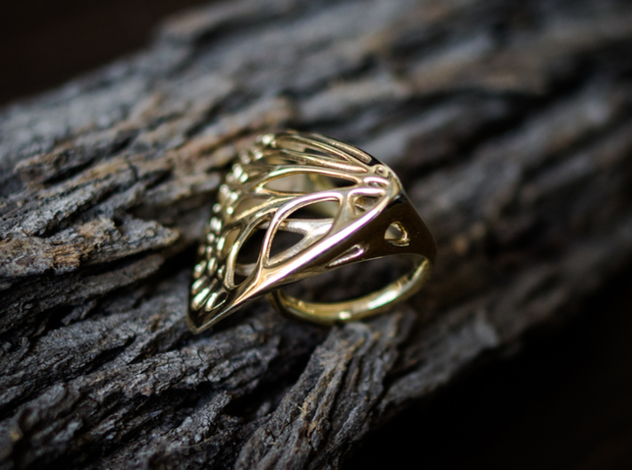 Butterfly Ring [ Size 7 ] 3d printed Material : Polished Brass