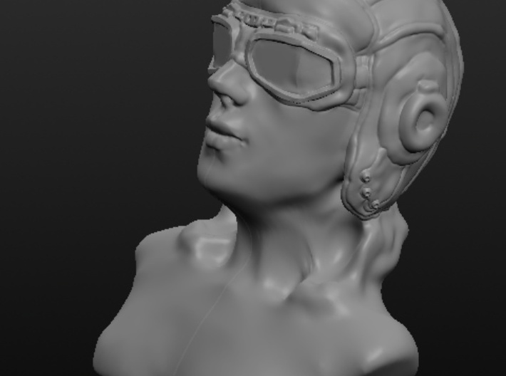Woman with Flight Goggle 3d printed Side