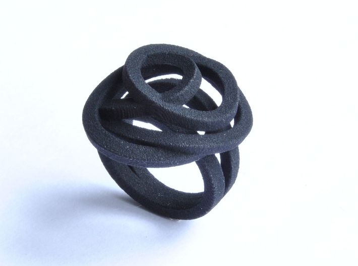 Ring Love is in the Air Medium (from $16) 3d printed Black Soft Elegant Knot Ring