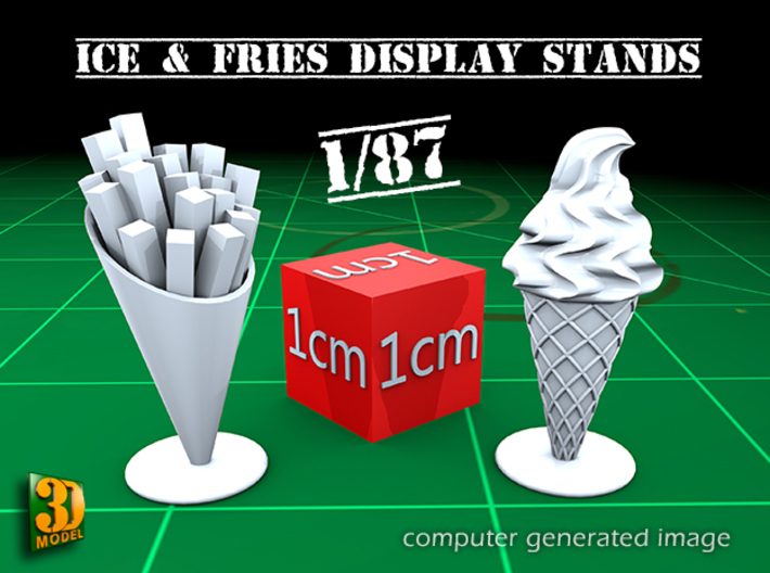 16 ICE & FRIES display stands (1:87) 3d printed ICE & FRIES display stands