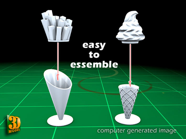 16 ICE & FRIES display stands (1:87) 3d printed ICE & FRIES display stands - assembly