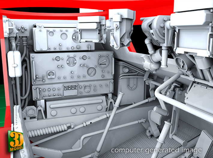 2S7 PION FRONT CABIN interior (1:35) 3d printed 2S7 PION/MALKA front cabin/driver compartment