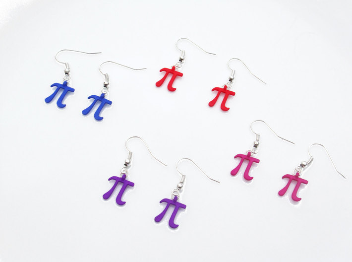 Pi Math Symbol Earrings 3d printed