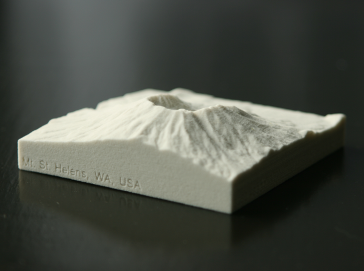 3'' Mt. St. Helens, Washington, USA, Sandstone 3d printed Photo of actual 3D print, view from Southeast