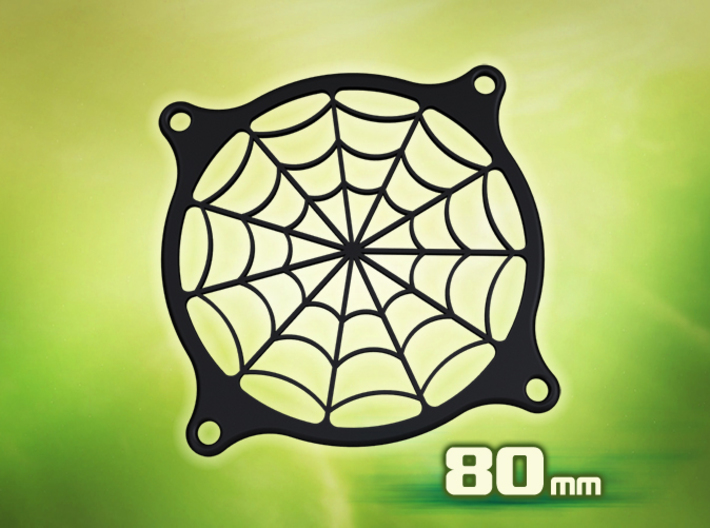 PC Fan grill - Spider Web - (80mm) 3d printed
