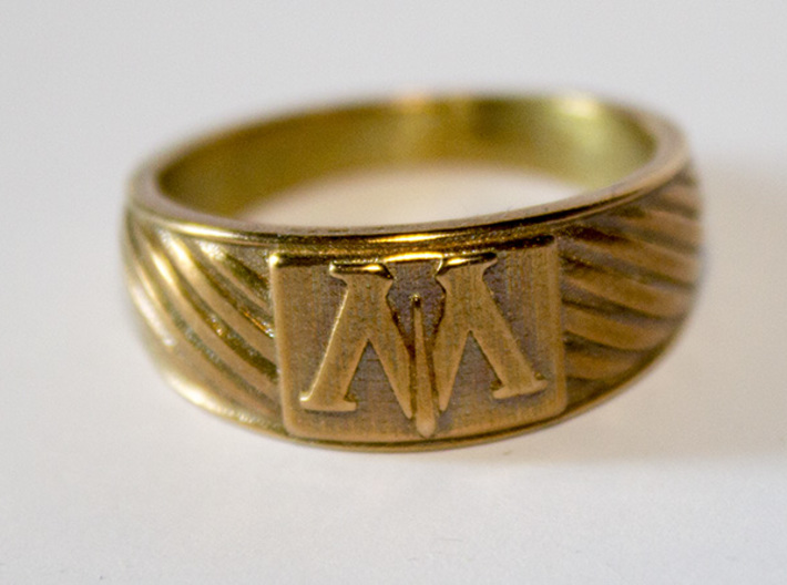 Magic is Might Ring 3d printed Raw Bronze