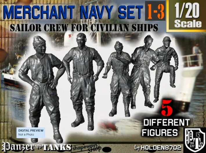 1-20 Merchant Navy Crew Set 1-3 3d printed