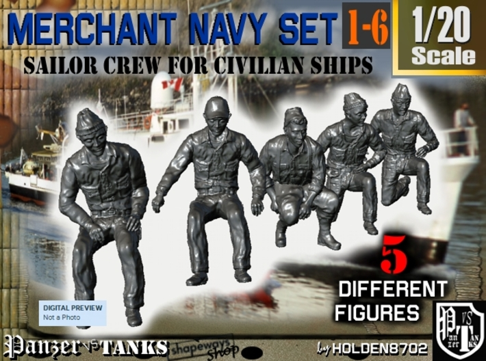 1-20 Merchant Navy Crew Set 1-6 3d printed