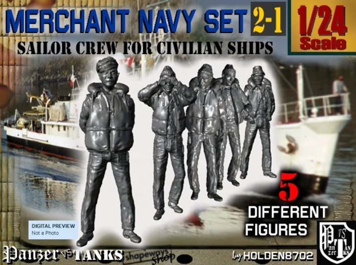 1-24 Merchant Navy Crew Set 2-1 3d printed