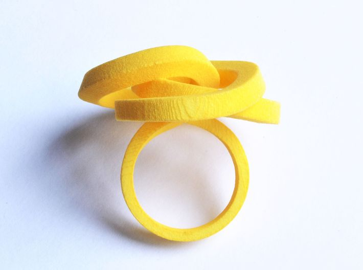 Ring Love is in the AIR (L) (from $26) 3d printed Smooth Large, elegant and sophisticated knot yellow ring