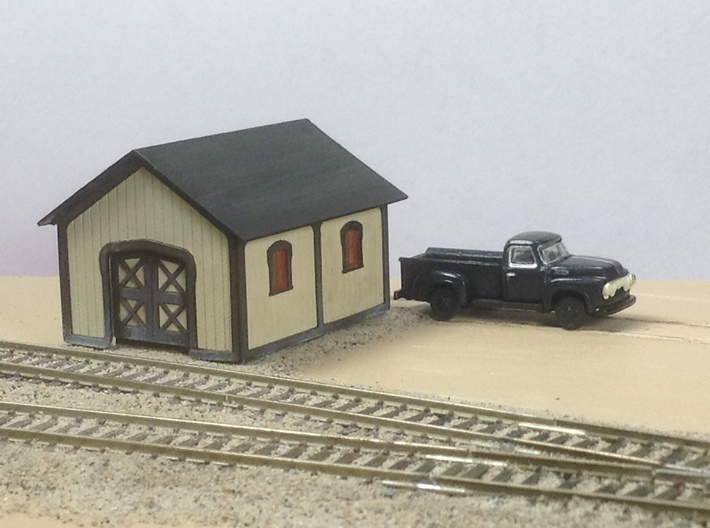 PRR Plan 57984-B TOOL SHED Kit in N Scale 3d printed Tool shed assembled and painted