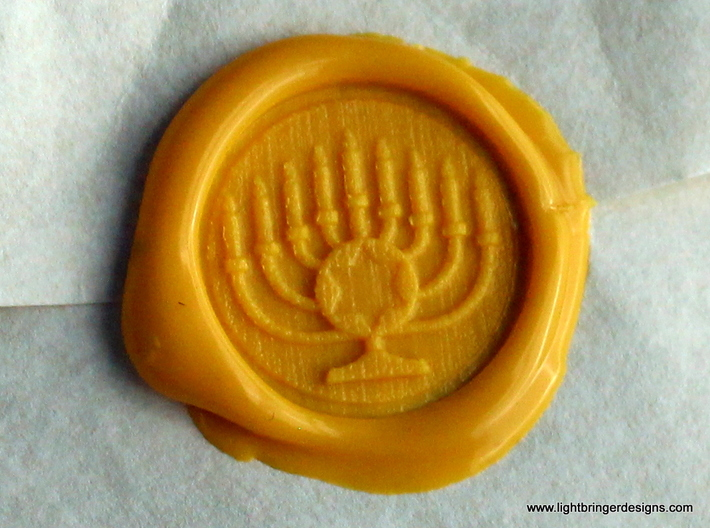 Menorah Wax Seal 3d printed Menorah wax impression in Sunflower Yellow sealing wax