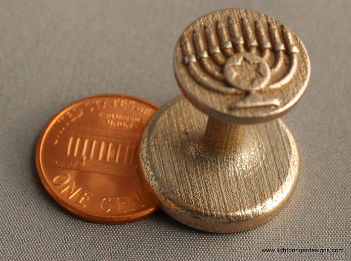 Menorah Wax Seal 3d printed Menorah wax seal, with penny for scale