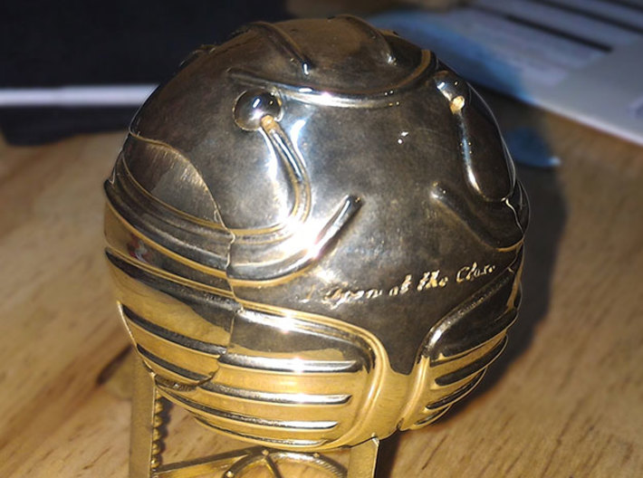 Harry's First Snitch Ring Box-Pt.1-Body-Cust. Text 3d printed Polished Brass - closed