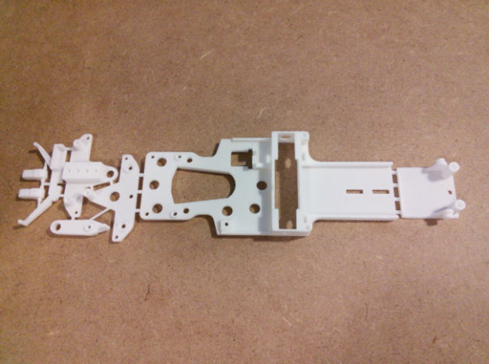 CK1 Chassis Kit for 1/32 Scale Small MagRacing Car 3d printed An older version of CK1 in white as shipped by Shapeways.