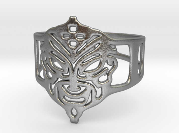 Aztec Mask Ring 3d printed