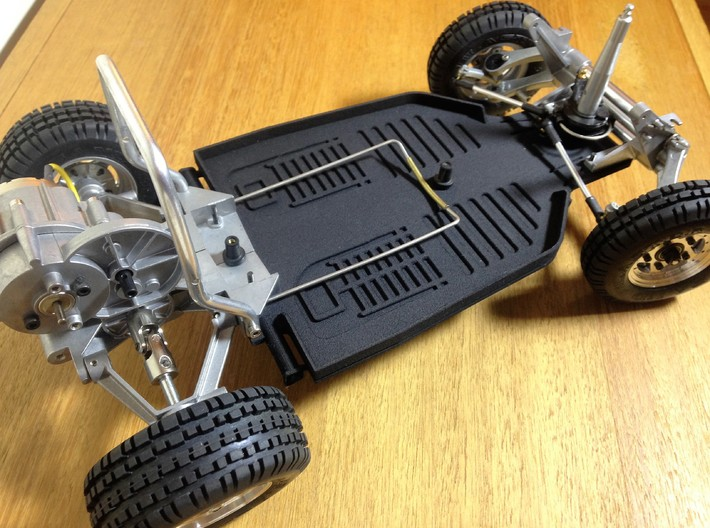 Custom scale chassis for Tamiya Sand Scorcher SRB 3d printed