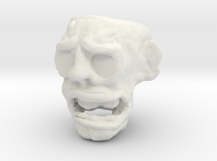Zombie head bead 6mm hole 3d printed