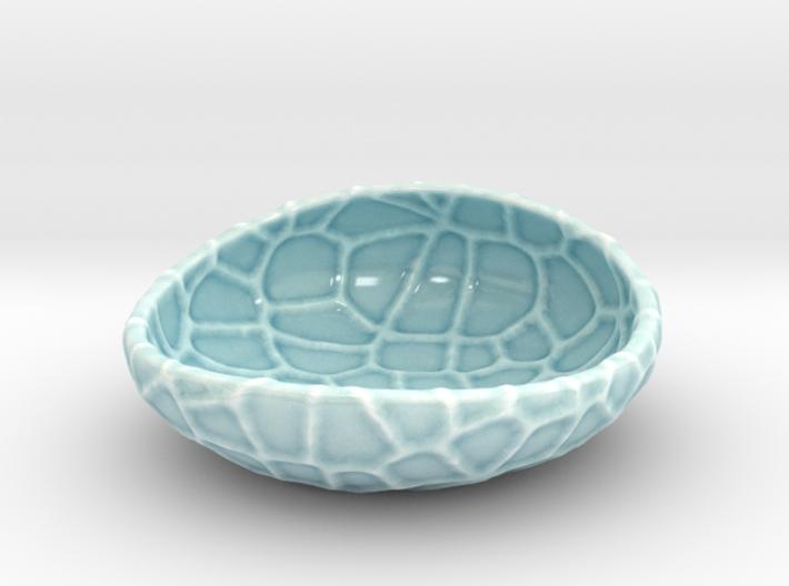 Flat porcelain Soap Dish in Water-Look 3d printed