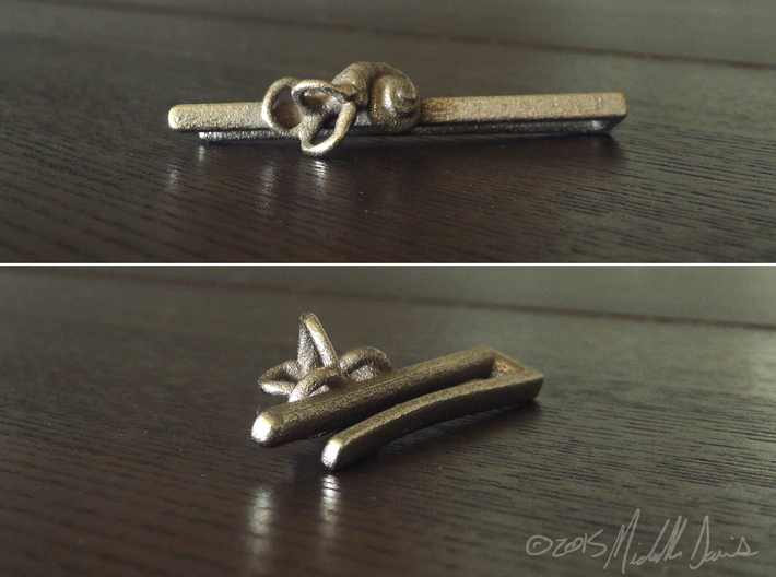 Anatomical Tie Clip with (Left) Cochlea 3d printed
