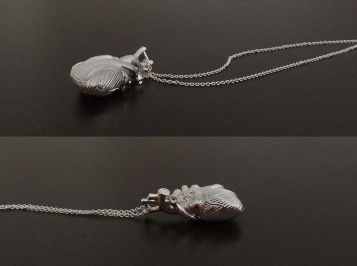 Anatomical Heart Pendant 3d printed Chain not included.