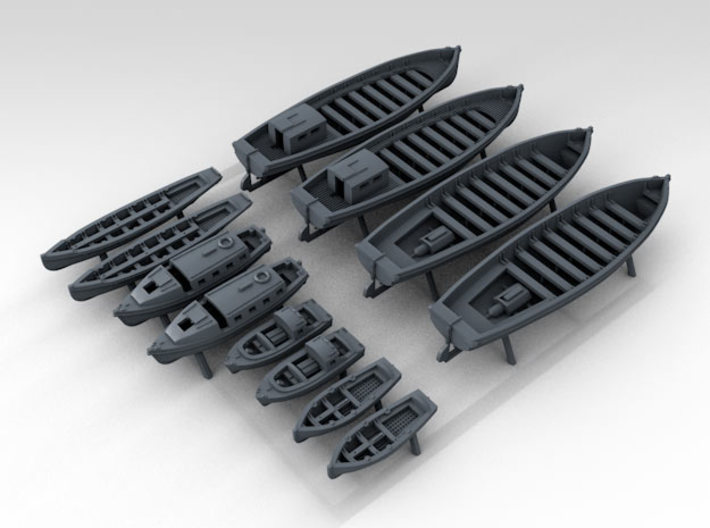 1/600 WW2 RN Boat Set 2 without Mounts 3d printed 3D Render displaying detail