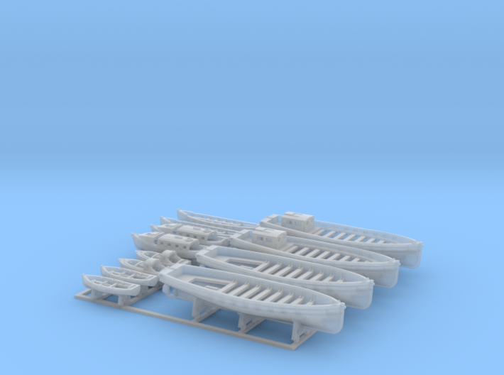 1/400 WW2 RN Boat Set 2 with Mounts 3d printed 1/400 Royal Navy WW2  Boat Set 2 with Mounts