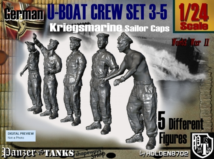 1-24 German U-Boot Crew Set3-5 3d printed