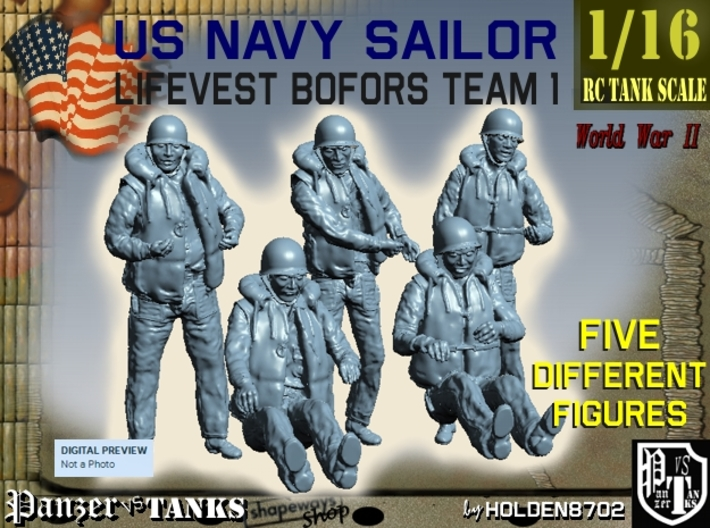 1-16 USN Sailor Lifevest Bofors TEAM 1 3d printed