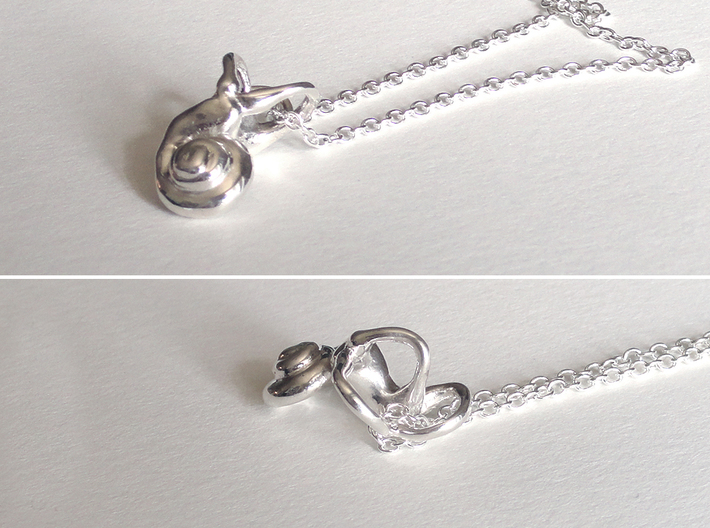 Right Inner Ear Cochlea Pendant 3d printed Chain not included.