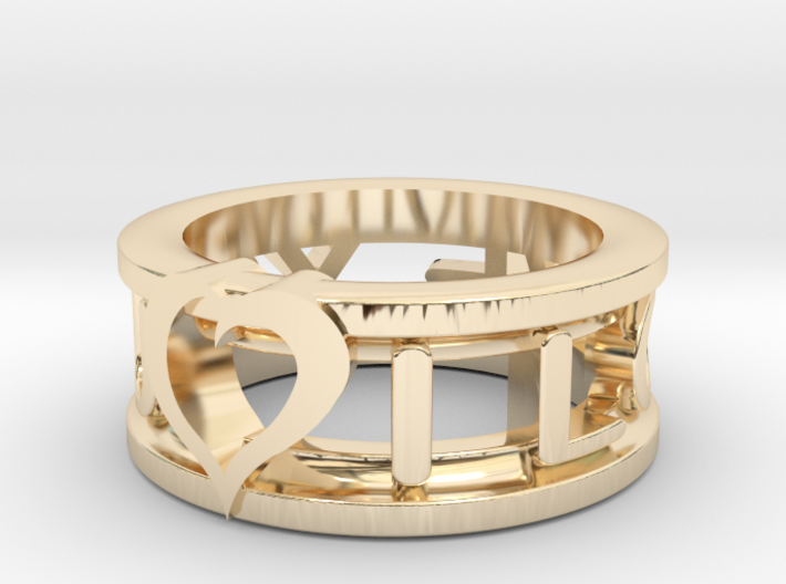 I Love You Ring 3d printed