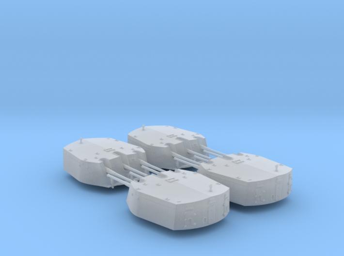 """1/600 6""""/50 (15.2 cm) BL Mark XXIII Turrets x4 3d printed 1/600 RN Triple 6 Inch MKXXIII Turrets (4)"""