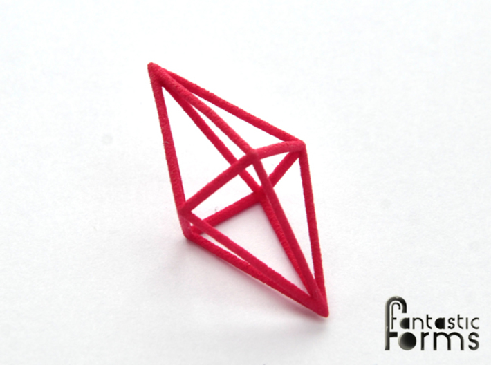 Pendant 'Crystal' 3d printed Crystal pendant, 3D printed in pink strong and flexible polished