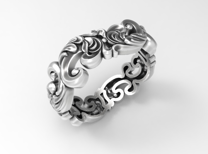 Antique design scroll band size 7 3d printed