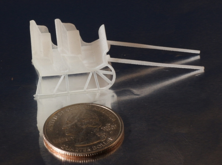 Sleigh HO Scale 3d printed Compared to a Quarter