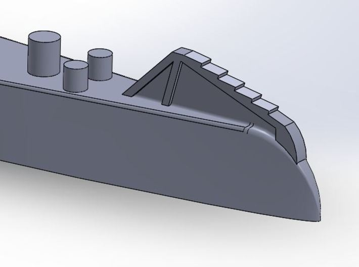 07SA01 NMS Delfinul 1:700 3d printed Detail of the bow